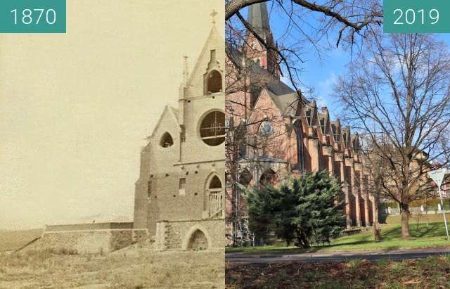 Before-and-after picture of Kostel svaté Alžběty Uherské between 1870 and 2019-Dec-10