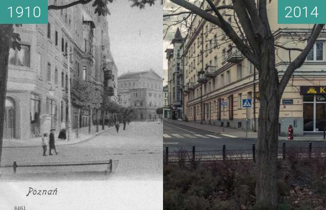 Before-and-after picture of Ulica 3 Maja between 1910 and 2014