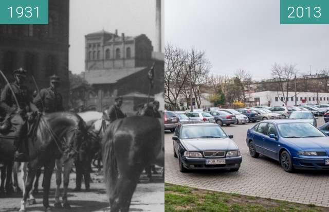 Before-and-after picture of Ulica Nowowiejskiego between 1931 and 2013