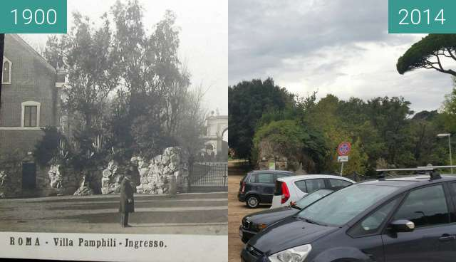 Before-and-after picture of Entrance of Villa Pamphilj between 1900 and 2014-Nov-11