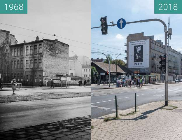 Before-and-after picture of Ulica Głogowska between 1968 and 2018