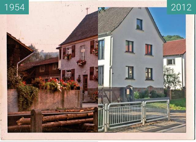 Before-and-after picture of Ein Haus in der Gronauer Strasse in Bensheim -Zell between 1954-Jun-30 and 2012-Apr-26