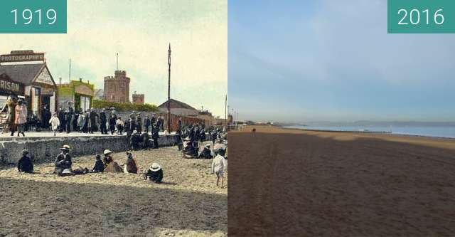 Before-and-after picture of Portobello Beach between 1919 and 2016