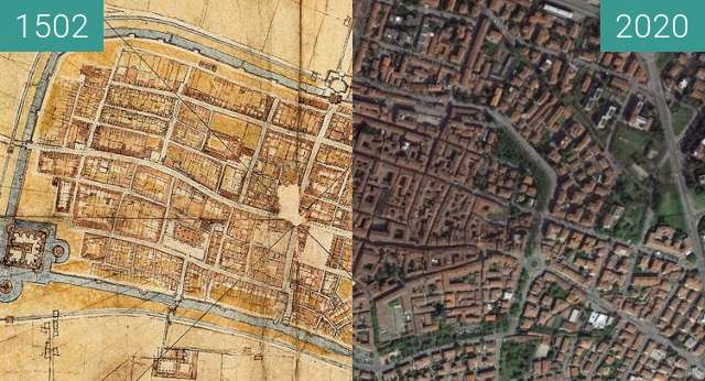 Before-and-after picture of Imola between 1502 and 2020