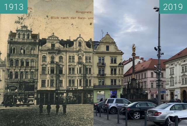 Before-and-after picture of Plzeň - Historické budovy na náměstí between 1913 and 2019-Mar-07