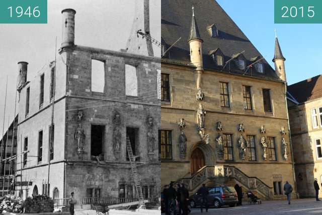 Before-and-after picture of Rathaus des Westfälischen Friedens between 1946 and 2015-Dec-30