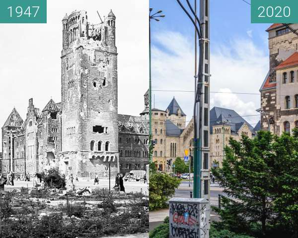 Before-and-after picture of Ulica św. Marcin, Zamek Cesarski between 1947 and 2020-Jun-23