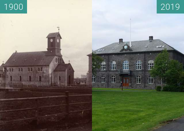 Before-and-after picture of Dómkirkja between 1900 and 2019-May-26
