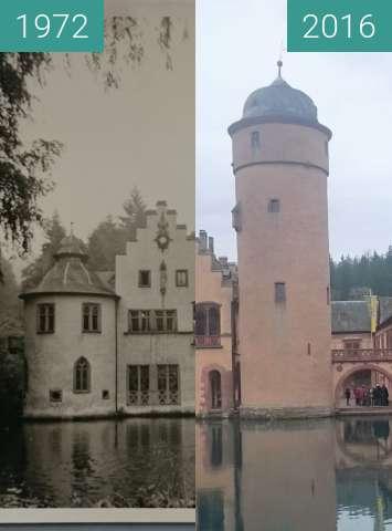 Before-and-after picture of Wasserschloss in Mespelbrunn between 1972-Apr-12 and 2016-Mar-27