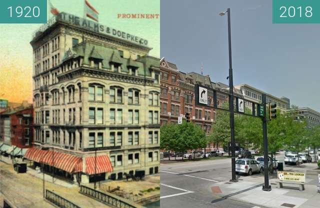 Before-and-after picture of Alms and Doepke Department store between 1920 and 2018