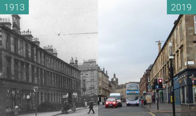 Before-and-after picture of Pollokshaws Road between 1913 and 2019-Mar-24