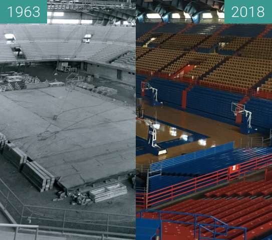 Before-and-after picture of Allen Fieldhouse 1963-2018 between 1963 and 2018-Apr-17