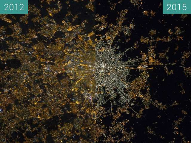 Before-and-after picture of Street lighting in Milan: Transition to LEDs between 2012 and 2015