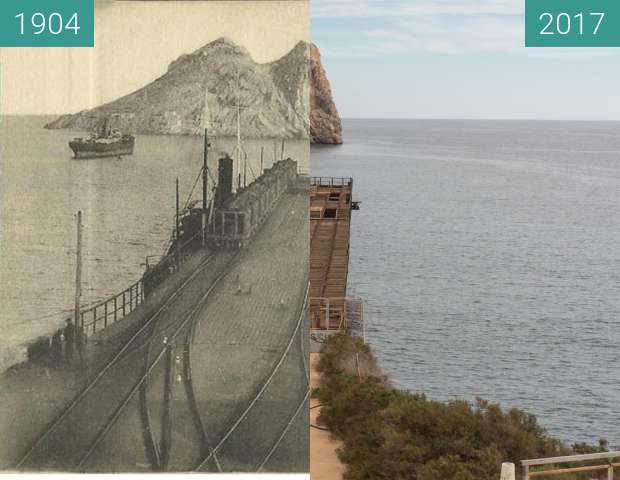 Before-and-after picture of The Embarcadero de Mineral el Hornillo between 1904 and 2017-Feb-14