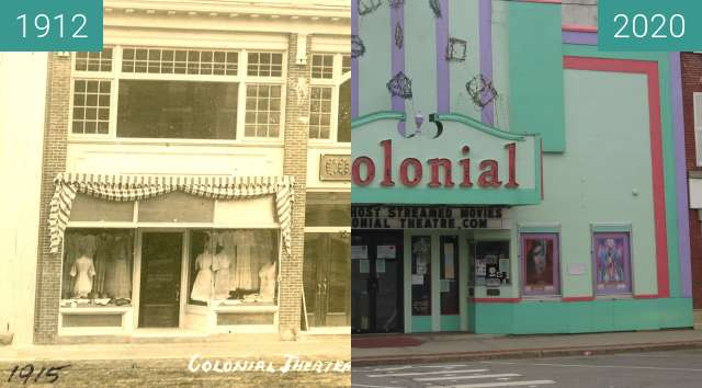 Before-and-after picture of Colonial Theatre - Belfast, Maine between 1912-Apr-09 and 2020-Jul-14