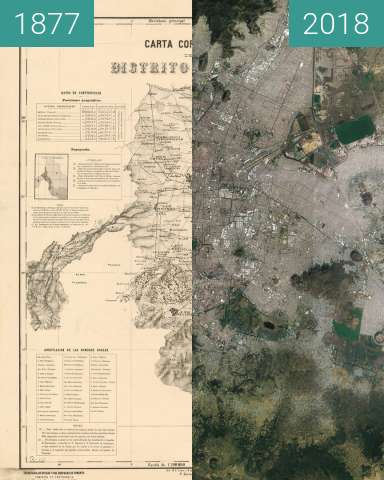 Before-and-after picture of Mexico city (CDMX) between 1877 and 2018