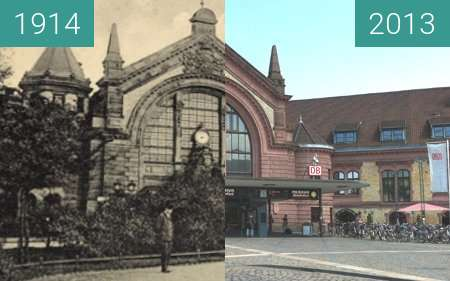 Before-and-after picture of Der Osnabrücker Hauptbahnhof between 1914 and 2013-Jul-22