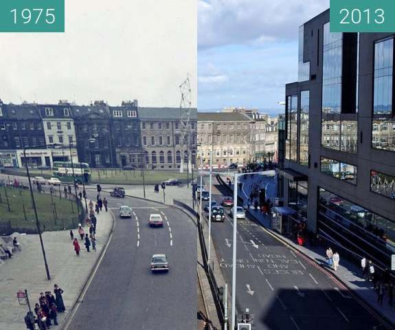 Before-and-after picture of View from St James Bridge between 1975 and 2013