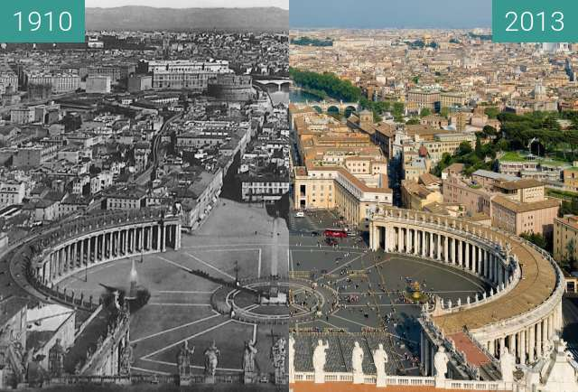 Before-and-after picture of Via della Conciliazione between 1910 and 2013