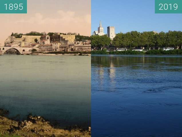 Before-and-after picture of Avignon between 1895 and 2019-Aug-12