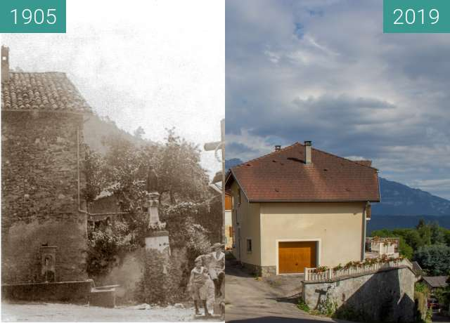 Before-and-after picture of Hautefort between 1905 and 2019-Jul-12