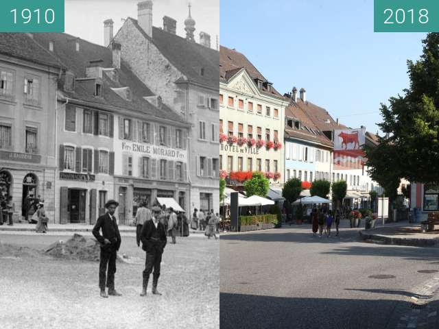 Before-and-after picture of Bulle (Suisse) - l'Hôtel de Ville et le tilleul between 1910 and 2018-Aug-04