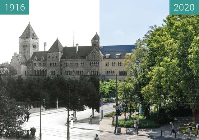 Before-and-after picture of Zamek Cesarski between 1916 and 2020-Aug-11