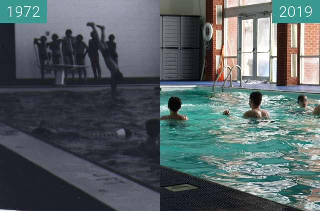 Before-and-after picture of John H. Uihlein Recreation Center at YBGR between 1972 and 2019-Feb-09