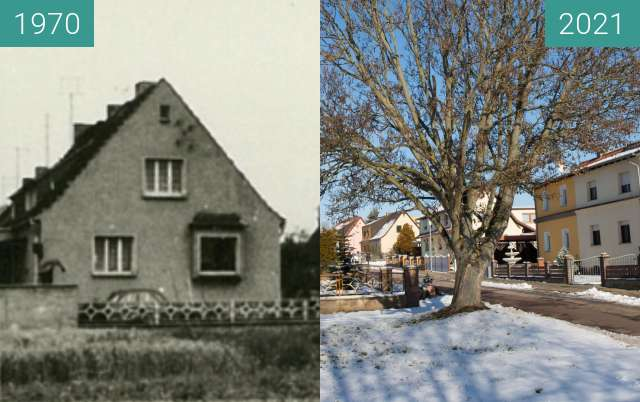 Before-and-after picture of Teicha Ecke süd-ost Siedlung between 1970 and 2021-Jan-31