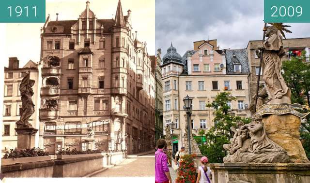 Before-and-after picture of St. Jan Bridge in Klodzko between 1911 and 2009