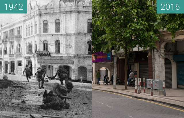 Before-and-after picture of Japanese troops advancing through Kuala Lumpur between 1942-Jan-11 and 2016-Jul-17