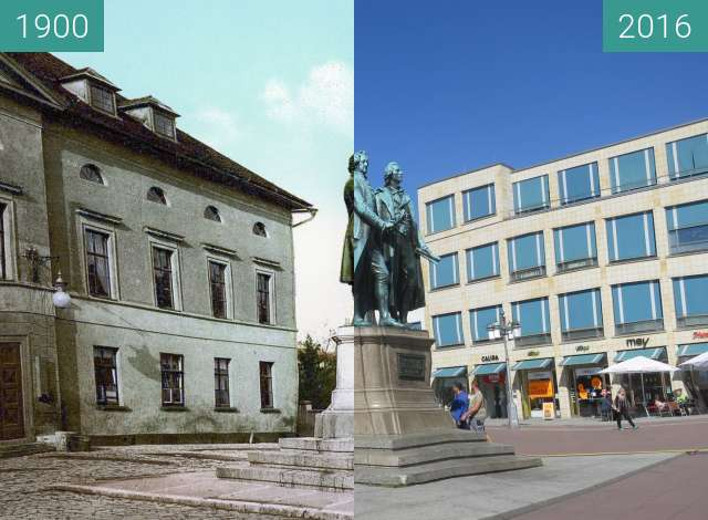 Before-and-after picture of Goethe-Schiller-Denkmal between 1900 and 2016-Aug-18