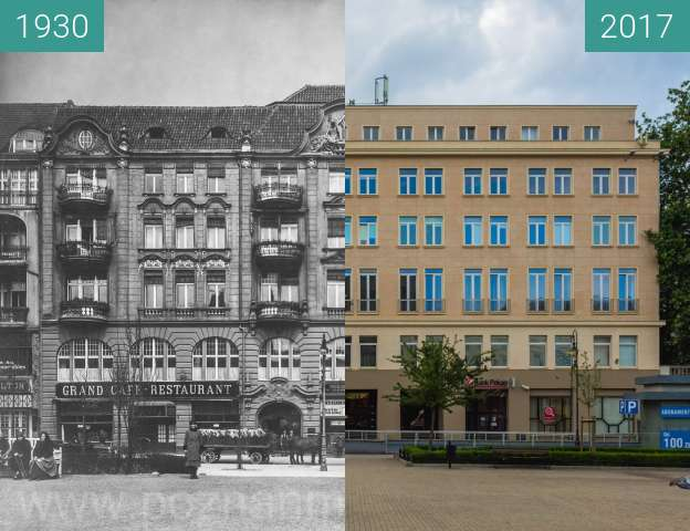 Before-and-after picture of Plac Wolności between 1930 and 2017-Jul-08