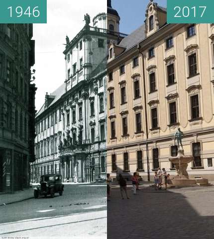 Before-and-after picture of Wroclaw University between 1946 and 2017