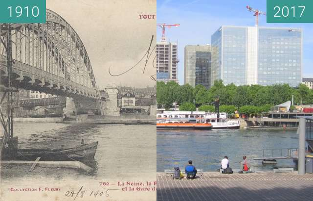 Before-and-after picture of Quai de la Rapée between 1910 and 2017-May-10