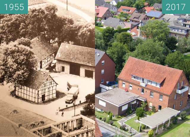 Before-and-after picture of Dodt´s Mühle in Bad Laer between 1955 and 2017-Aug-02