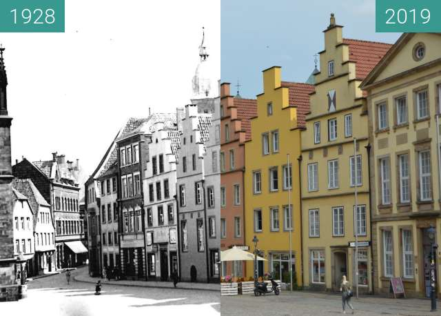 Before-and-after picture of Marktplatz mit Justus-Möser-Denkmal between 1928 and 2019-Jun-19