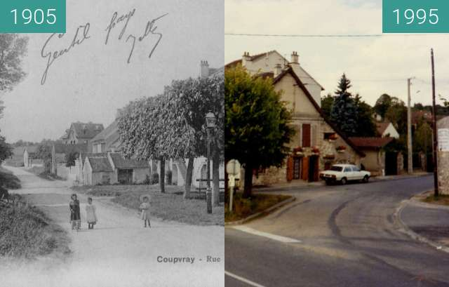 Before-and-after picture of Place des Tilleuls between 1905 and 1995