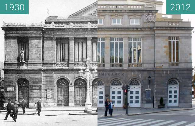 Before-and-after picture of Teatro Campoamor, Oviedo between 1930 and 2012