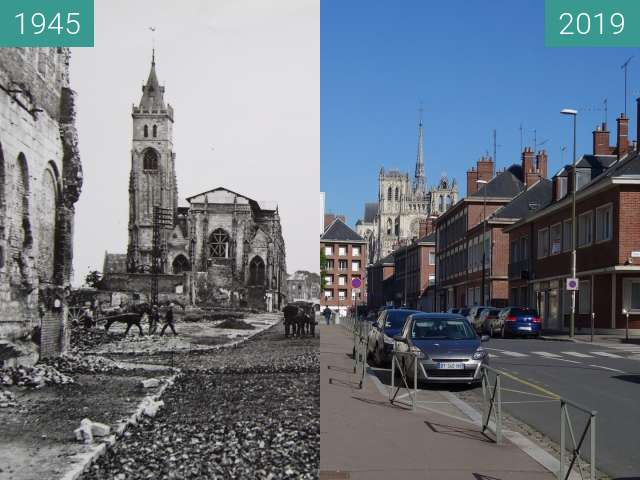 Before-and-after picture of Rue St. Germain between 1945 and 2019-May-13