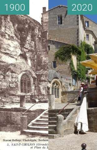 Before-and-after picture of Monolithic church of Saint-Émilion between 1900 and 07/2020
