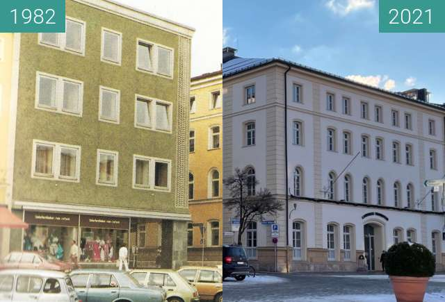 Before-and-after picture of Stadtplatz Traunstein Arbeitsamt Landratsamt between 1982 and 2021-Jan-15