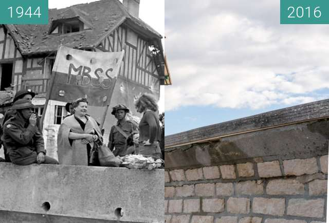 "Before-and-after picture of Villa ""Denise et Roger"" at Juno Beach (2) between 1944-Jun-06 and 2016-Oct-22"