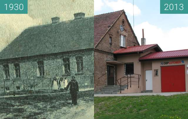 Before-and-after picture of Highway Lutomek between 1930 and 2013