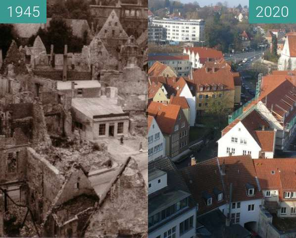 Before-and-after picture of Osnabrücker Altstadt in Trümmern between 1945-Mar-25 and 2020