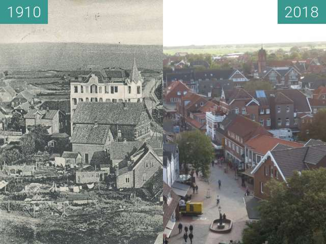 Before-and-after picture of Blick vom Wasserturm auf Langeoog between 1910 and 2018-Sep-28