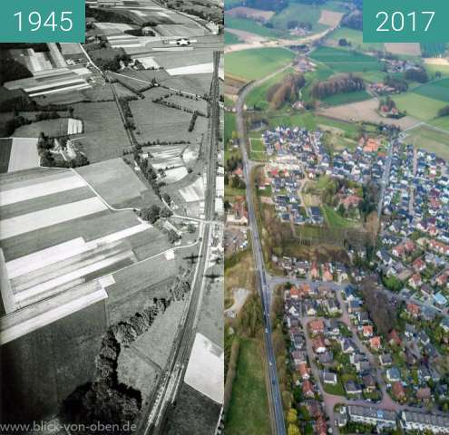 Before-and-after picture of Belm bei Osnabrück between 1945-May-12 and 04/2017