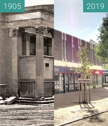 Before-and-after picture of The Corn Exchange between 1905 and 2019-Jun-20