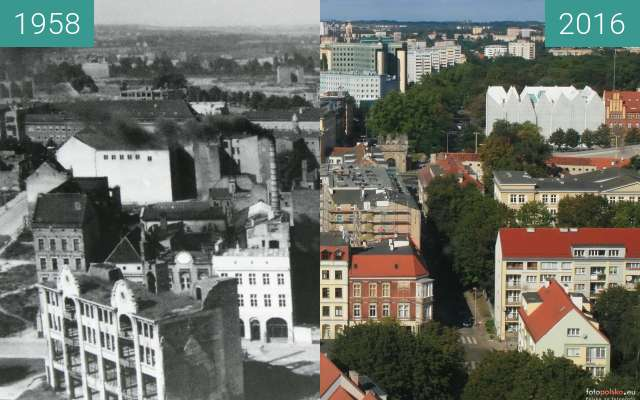 Before-and-after picture of Koński Kierat street between 1958 and 2016