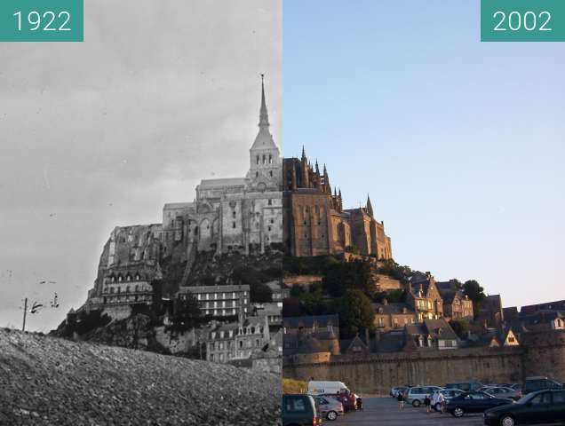 Before-and-after picture of Mont St. Michel between 1922-Sep-28 and 2002-Jan-02